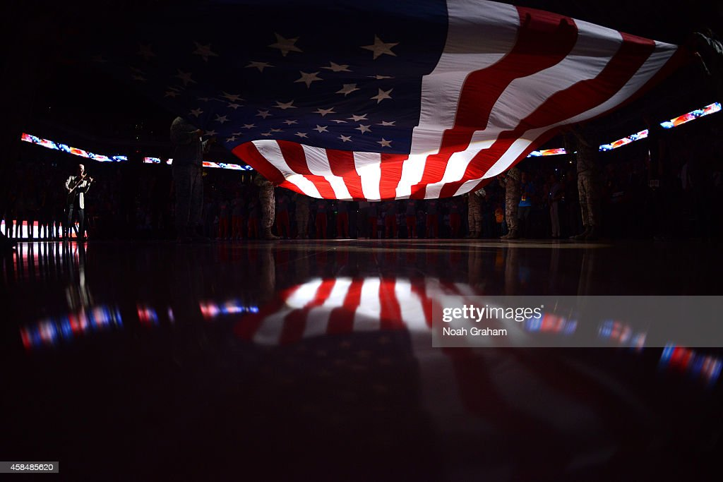 A shot of the USA flag during the national anthem of the game between the Los Angeles Clippers and Golden State Warriors on November 5 2014 at Oracle...