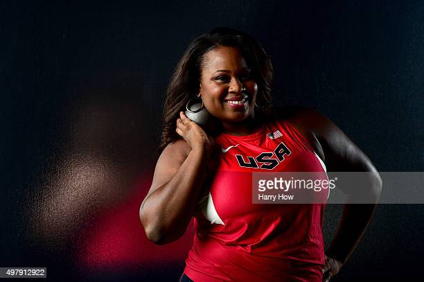 Shot putter Michelle Carter poses for a portrait at the USOC Rio Olympics Shoot at Quixote Studios on November 19 2015 in Los Angeles California