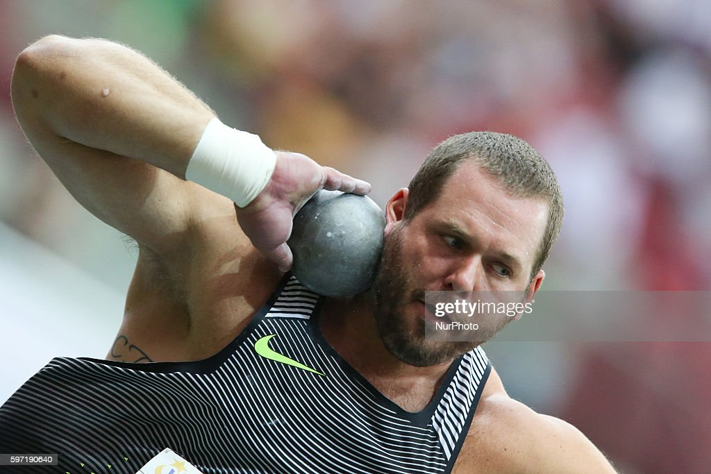 Shot putter Ryan Whiting of the USA in action during the athletics meeting of Kamila Skolimowska at the National Stadium in Warsaw Poland on August...