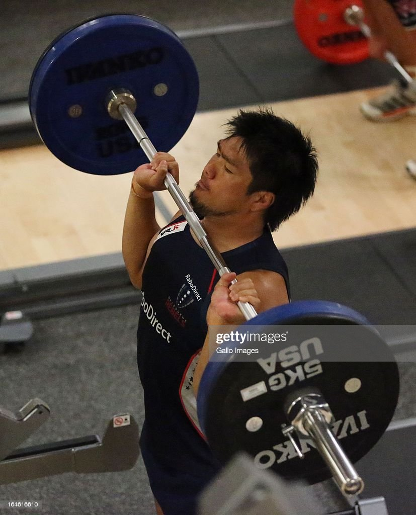 <a gi-track='captionPersonalityLinkClicked' href=/galleries/search?phrase=Shota+Horie&family=editorial&specificpeople=7034249 ng-click='$event.stopPropagation()'>Shota Horie</a> during the Melbourne Rebels gym session at the Prime Human Performance Institute at Moses Mabhida Stadium on March 25, 2013 in Durban, South Africa.