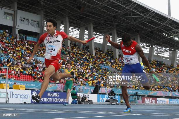 Shota Iizuka of Japan competes in the Men's 4x100 metres relay during day two of the IAAF World Relays at the Thomas Robinson Stadium on May 25 2014...