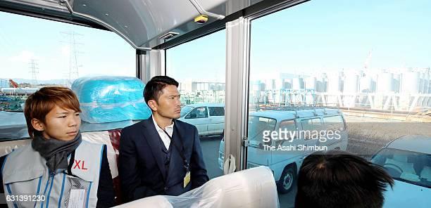 Shota Kaneko of Shimizu SPulse and Daiki Iwamasa of Fagiano Okayama inspect Tokyo Electric Power Co's Fukushima Daiichi Nuclear Power Plant on...