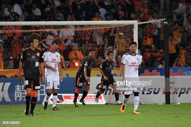 Shota Kaneko of Shimizu SPulse celebrates scoring his side's first goal during the JLeague J1 match between Shimizu SPulse and Cerezo Osaka at IAI...