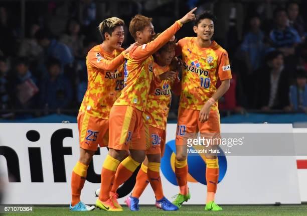 Shota Kaneko of Shimizu SPulse celebrates scoring the opening goal with his team mates Ko Matsubara Gakuto Notsuda and Ryohei Shirasaki during the...