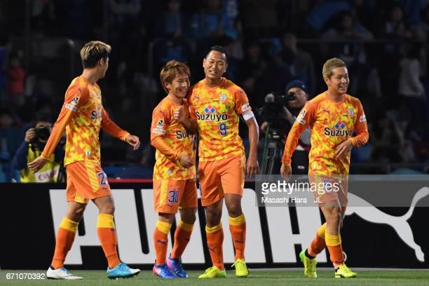 Shota Kaneko of Shimizu SPulse celebrates scoring the opening goal with his team mates Ko Matsubara Chong Tese and Shoma Kamata during the JLeague J1...