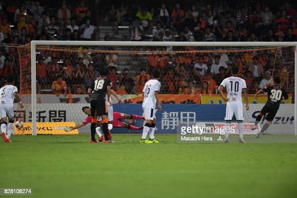 Shota Kaneko of Shimizu SPulse converts the penalty to score his side's first goal during the JLeague J1 match between Shimizu SPulse and Cerezo...