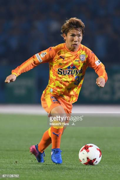 Shota Kaneko of Shimizu SPulse in action during the JLeague J1 match between Kawasaki Frontale and Shimizu SPulse at Todoroki Stadium on April 21...
