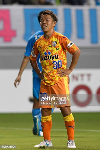 Shota Kaneko of Shimizu SPulse reacts after missing a chance during the JLeague J1 match between Sagan Tosu and Shimizu SPulse at Best Amenity...