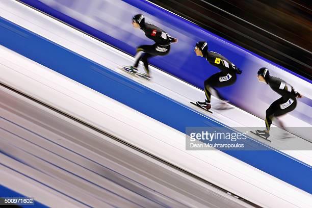 Shota Nakamura Shane Williamson and Ryosuke Tsuchiya of Japan compete in the men team pursuit race during day 1 of the ISU World Cup Speed Skating...