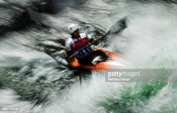 Shota Sasaki of Japan competes during the Canoe Single Men's Qualification of the ICF Canoe Slalom World Cup on June 23 2017 in Augsburg Germany