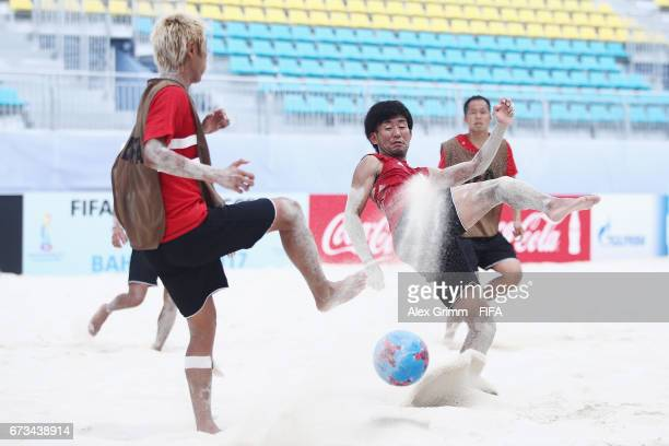 Shotaro Haraguchi blocks a shot of Takasuke Goto during a Japan training session before the FIFA Beach Soccer World Cup Bahamas 2017 at National...