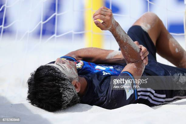 Shotaro Haraguchi of Japan reacts during the FIFA Beach Soccer World Cup Bahamas 2017 group D match between Tahiti and Japan at National Beach Soccer...