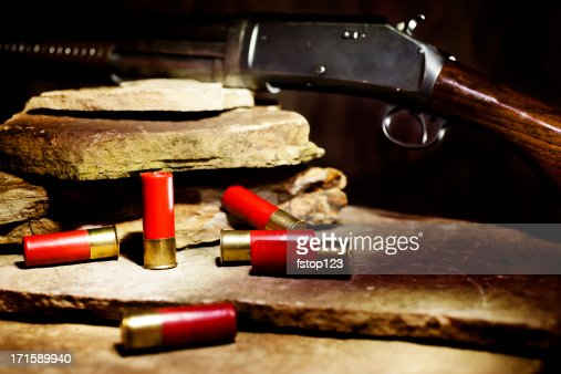 Shotgun and ammunition on rock shelf