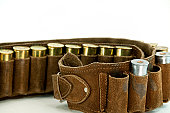 Shotgun Shells and Used Cartridge Belt ... Close-up