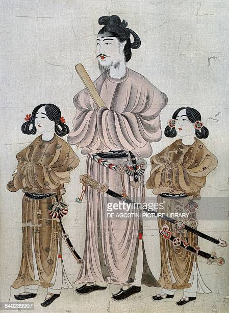 Shotoku Taishi with his sons Prince Yamashirooye on the right and Prince Eguri on the left painting attributed to Prince Asa of Korea late 7th...