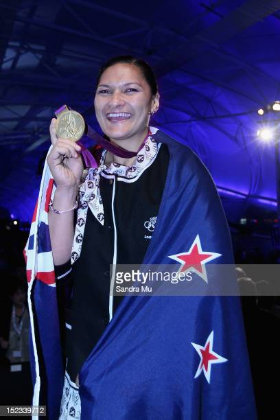 Shotputter Valerie Adams of New Zealand poses with her London Olympics Gold Medal at The Cloud on September 19 2012 in Auckland New Zealand Adams has...