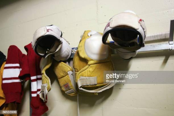 Shoulder pads are shown in the Primus Worldstars locker room on December 15 2004 at Bern Arena in Bern Switzerland