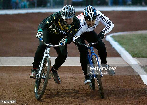 Shoulder to shoulder action during the Great Britain v Australia Womens Mens Ashes Test Cycle Speedway racing on the 689 metre shale surfaced...