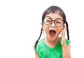 Asian little girl shouting with surprised face