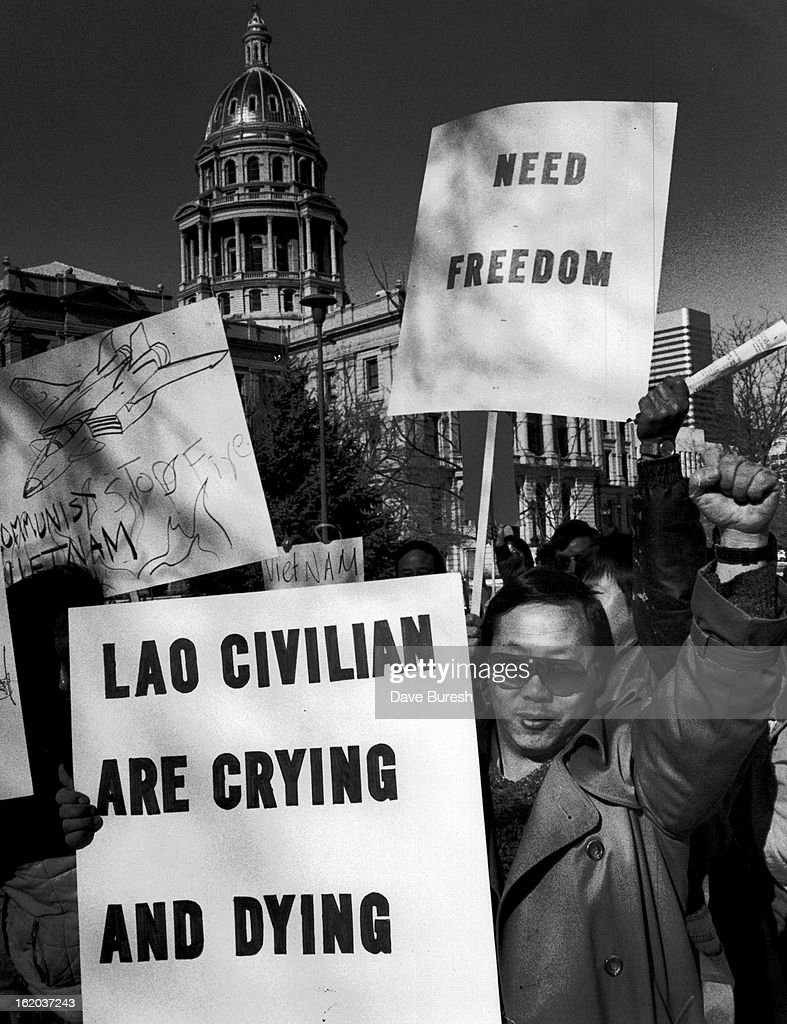 FEB 4 1990 Shove Yang one of about one hundred marchers at the Capitol Saturday Morning they marched around the capitol three times and then stopped...