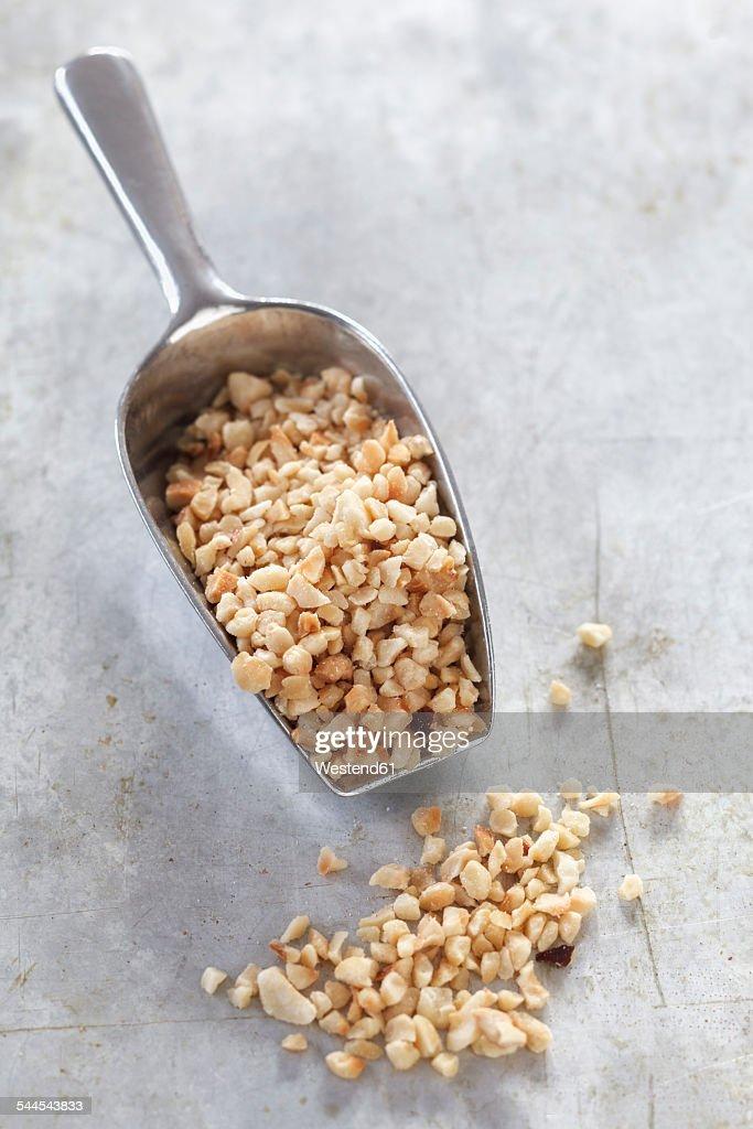 Shovel of chopped hazelnuts on metal