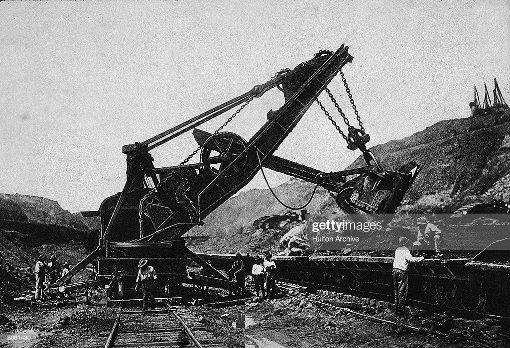 A shovel vehicle operates during the construction of the Panama Canal Panama circa 1906