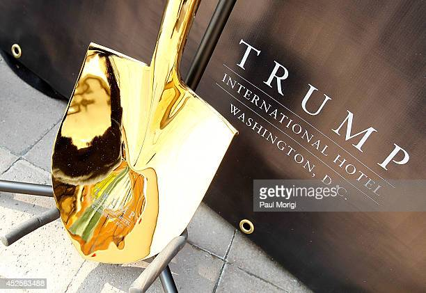 A shovel with the Trump logo at the Trump International Hotel Washington DC Groundbreaking Ceremony at Old Post Office on July 23 2014 in Washington...