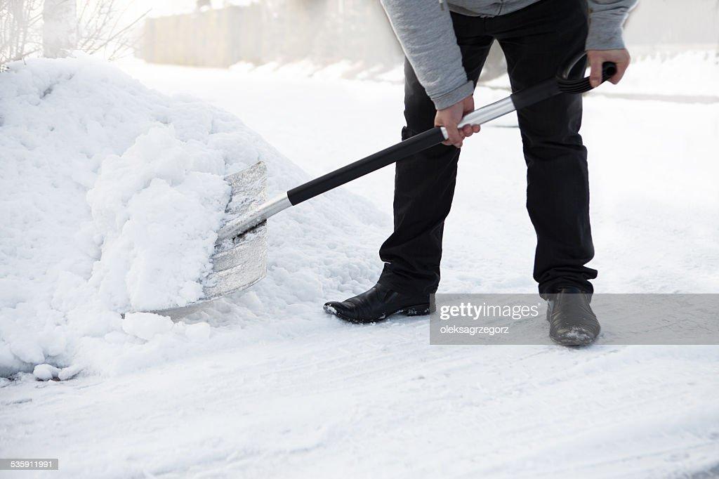 Shoveling Neve : Foto de stock