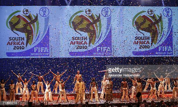 A show act is seen during the unveiling of the 2010 FIFA World Cup official emblem during the presentation for the World Cup South Africa 2010 on...