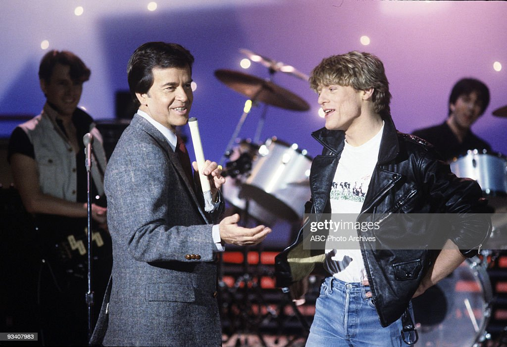 BANDSTAND - Show Coverage - 3/22/83, <a gi-track='captionPersonalityLinkClicked' href=/galleries/search?phrase=Dick+Clark&family=editorial&specificpeople=213041 ng-click='$event.stopPropagation()'>Dick Clark</a>, Brian Adams on the ABC Television Network dance show 'American Bandstand'.,