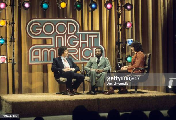 March 6 1975 PRODUCTION SHOT OF ROBERT J GRODEN DICK GREGORY AND GERALDO RIVERA talent L photographer Ann Limongello credit ABC source American...