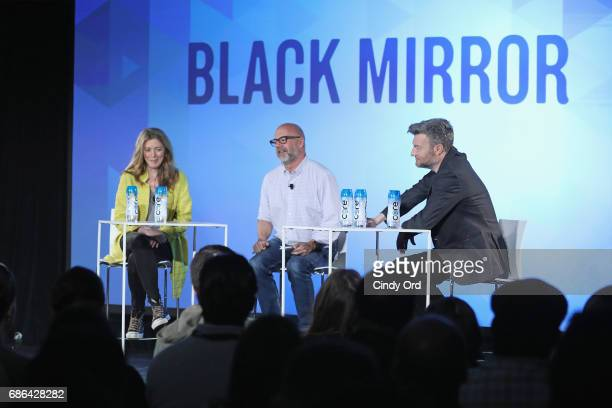 Show Creator Annabel Jones Editor Andrew Sullivan and Show Creator Charlie Booker speak onstage at the Black Mirror panel during the 2017 Vulture...