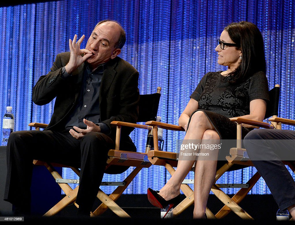 Show Creator Armando Iannucci and actress Julia LouisDreyfus on stage at The Paley Center For Media's PaleyFest 2014 Honoring 'Veep' at Dolby Theatre...