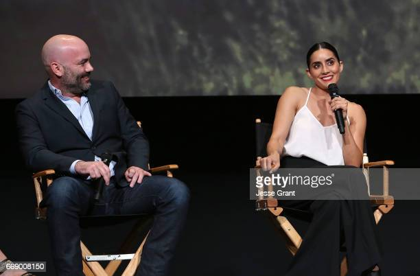 Show creator Philipp Meyer and actress Paola Nunez attend AMC's 'The Son' FYC Screening Panel Discussion on April 15 2017 in Los Angeles California