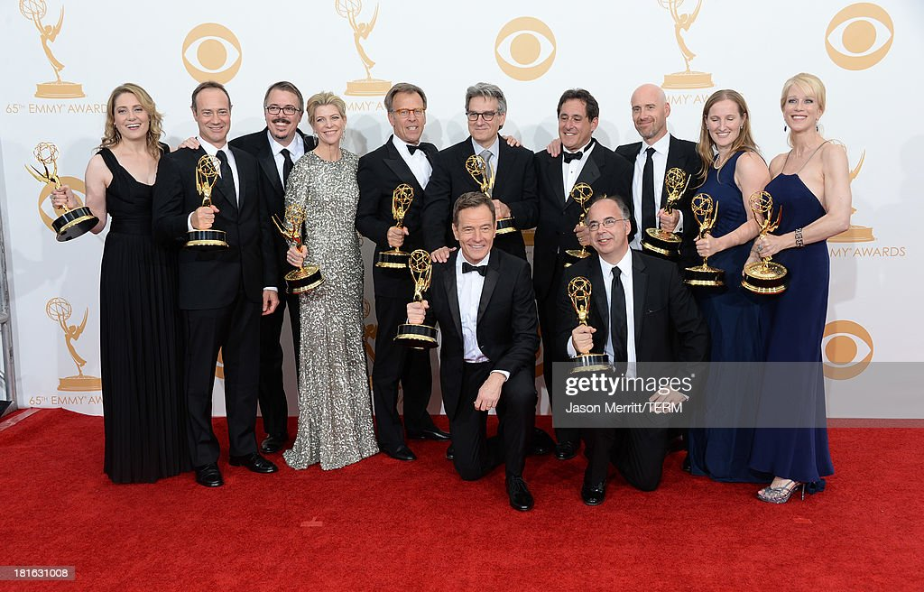 Show Creator <a gi-track='captionPersonalityLinkClicked' href=/galleries/search?phrase=Vince+Gilligan&family=editorial&specificpeople=4360133 ng-click='$event.stopPropagation()'>Vince Gilligan</a> (3rd from L), actor <a gi-track='captionPersonalityLinkClicked' href=/galleries/search?phrase=Bryan+Cranston&family=editorial&specificpeople=217768 ng-click='$event.stopPropagation()'>Bryan Cranston</a> (C) and producers, winners of the Best Drama Series Award for 'Breaking Bad' pose in the press room during the 65th Annual Primetime Emmy Awards held at Nokia Theatre L.A. Live on September 22, 2013 in Los Angeles, California.