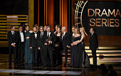 Show creator Vince Gilligan with cast and crew accept Outstanding Drama Series for 'Breaking Bad' onstage at the 66th Annual Primetime Emmy Awards...