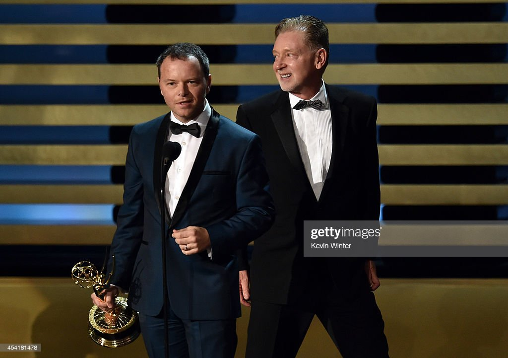 Show Creator/Executive Producer Noah Hawley (L) and Executive Producer Warren Littlefield, accept the Outstanding Miniseries Award for 'Fargo' during the 66th Annual Primetime Emmy Awards held at Nokia Theatre L.A. Live on August 25, 2014 in Los Angeles, California.