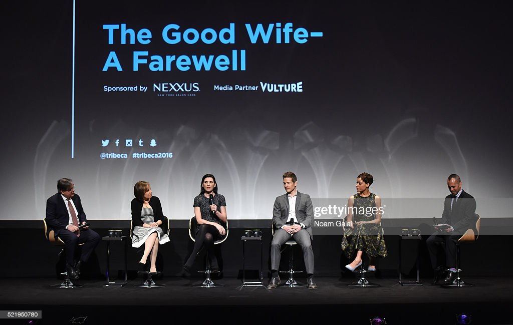 Show creators Robert King and Michelle King, actress Julianna Margulies, actor Matt Czuchry, actress Cush Jumbo and moderator Henry Goldblatt speak on stage during Tribeca Tune In: The Good Wife at BMCC John Zuccotti Theater on April 17, 2016 in New York City.