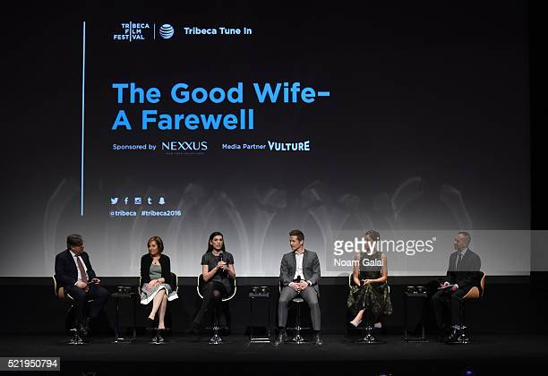 Show creators Robert King and Michelle King actress Julianna Margulies actor Matt Czuchry actress Cush Jumbo and moderator Henry Goldblatt speak on...