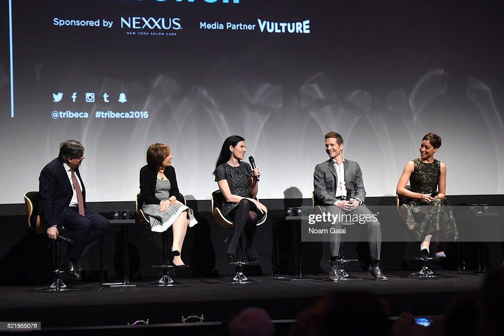 Show creators Robert King and Michelle King actress Julianna Margulies actor Matt Czuchry actress Cush Jumbo speak on stage during Tribeca Tune In...