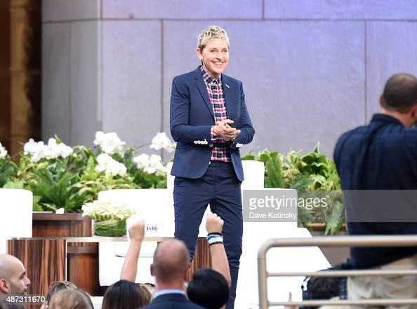 TV show host Ellen Degeneres appears at 'The Ellen Degeneres Show' Season 13 BiCoastal Premiere at Rockefeller Center on September 8 2015 in New York...