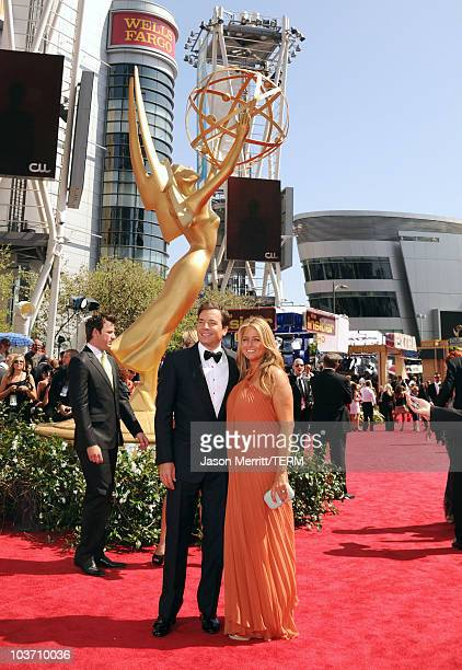 Show host Jimmy Fallon and producer Nancy Juvonen arrive at the 62nd Annual Primetime Emmy Awards held at the Nokia Theatre LA Live on August 29 2010...