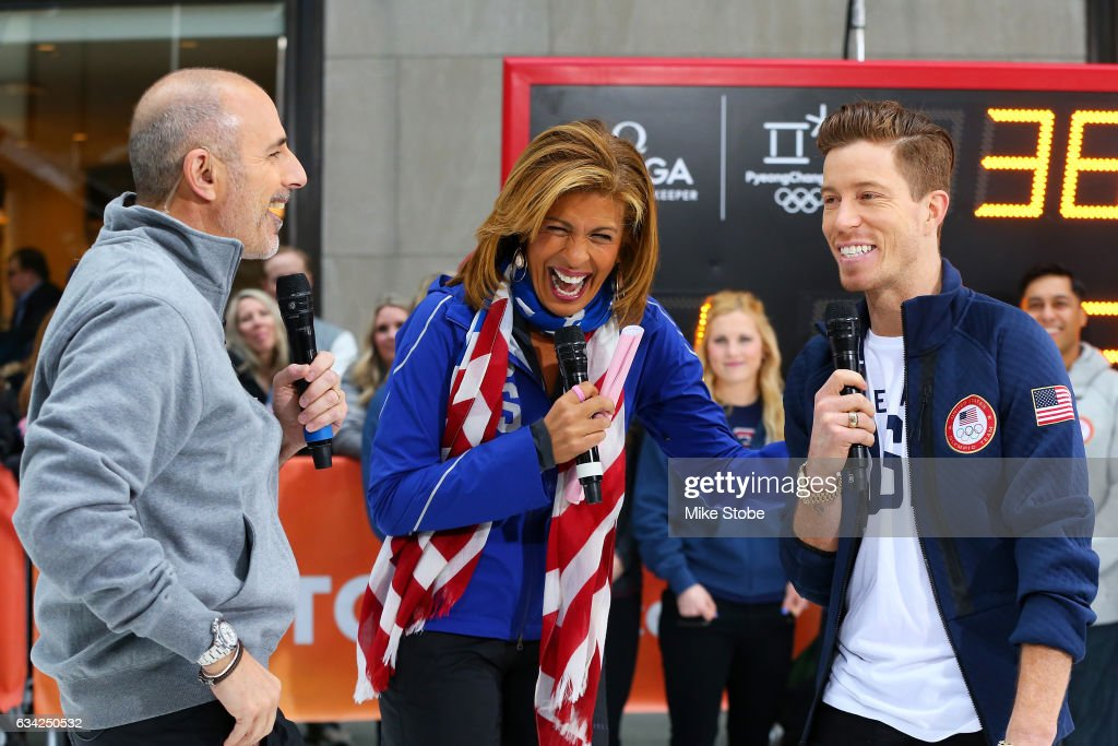 Show Host Matt Lauer and Hoda Kotb interview 2018 Olympic hopefull Shaun White during NBC's TODAY Show on February 8, 2017 in New York City. Team USA celebrates the one-year countdown to the Olympic Winter Games PyeongChang 2018.