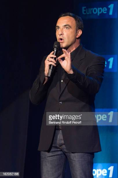 Show host Nikos Aliagas speaks during the 3rd edition of the 'Europe 1 fait Bobino' show at Bobino on February 18 2013 in Paris France