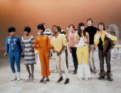 Show host Sammy Davis Jr joins guests The Supremes Sonny and Cher and The Lovin' Spoonful performing on the NBC TV music show 'Hullabaloo' on...