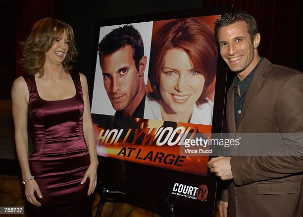 Show host Wendy Walsh and correspondent AJ Hammer at celebration of the oneyear anniversary of the cable television show 'Hollywood At Large' April...