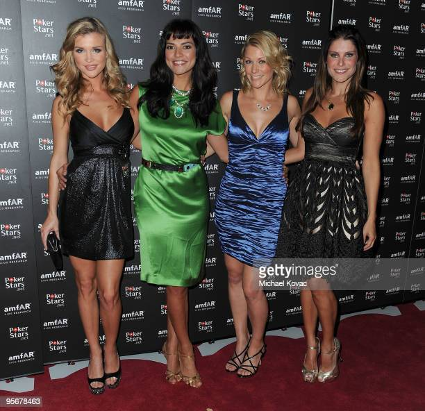 LAPT Show Hosts Joanna Krupa Candela Ferro Michelle Orpe and Ana Luiza Castro attend the amfAR Cocktail Party PokerStars Red Carpet And Party at Aura...