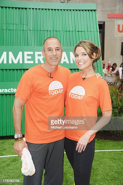 'TODAY' Show hosts Matt Lauer and Savannah Guthrie take part in the 'Summer Camp' competition at NBC's TODAY Show on July 11 2013 in New York City