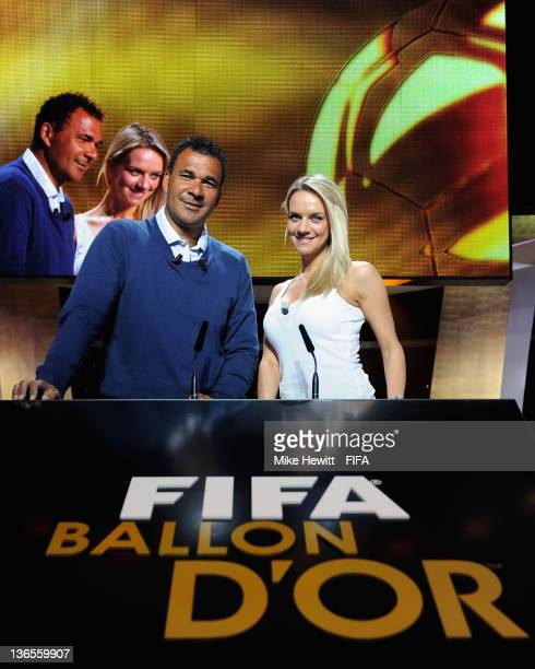 Show hosts Ruud Gullit and Kay Murray pose for a photo during rehearsals prior to the FIFA Ballon d'Or Gala 2011 at the Kongresshaus on January 08...