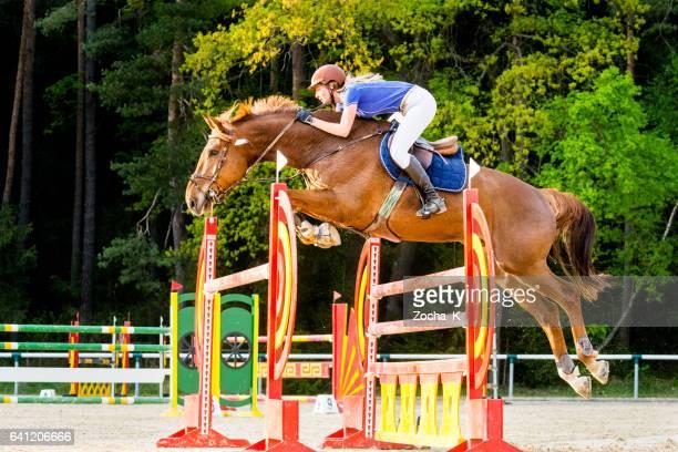 Saut d'obstacles - cheval avec le cavalier en passant par-dessus haie